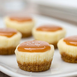 Bite-Size Salted Caramel Cheesecakes.