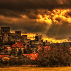 Rabi castel by Petr Klingr - Buildings & Architecture Public & Historical ( clouds, hdr, sunset, trees, castle,  )