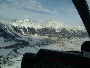 Photo: We now see the runway of the Engadin Airport and the town of Samedan http://www.swiss-flight.net