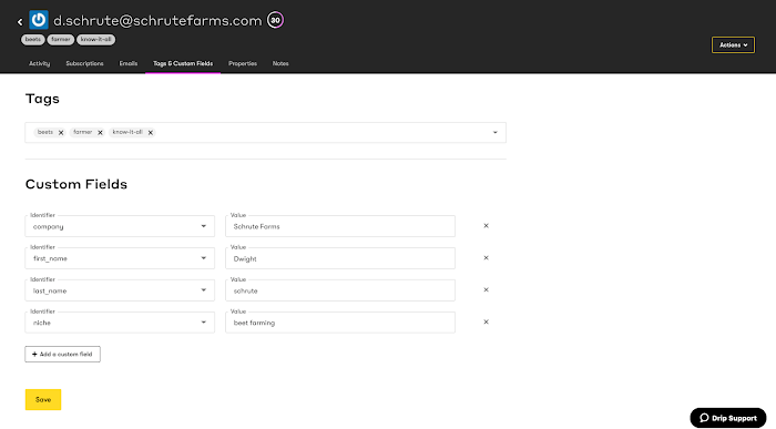 Person's Tags and Custom Fields page