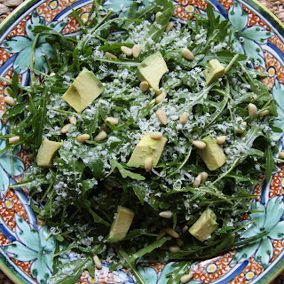 Arugula Salad with Avocado, Pine Nuts, & Parmesan
