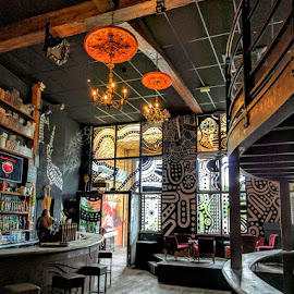 Aboriginal bar scene by Stephen Lang - Buildings & Architecture Other Interior