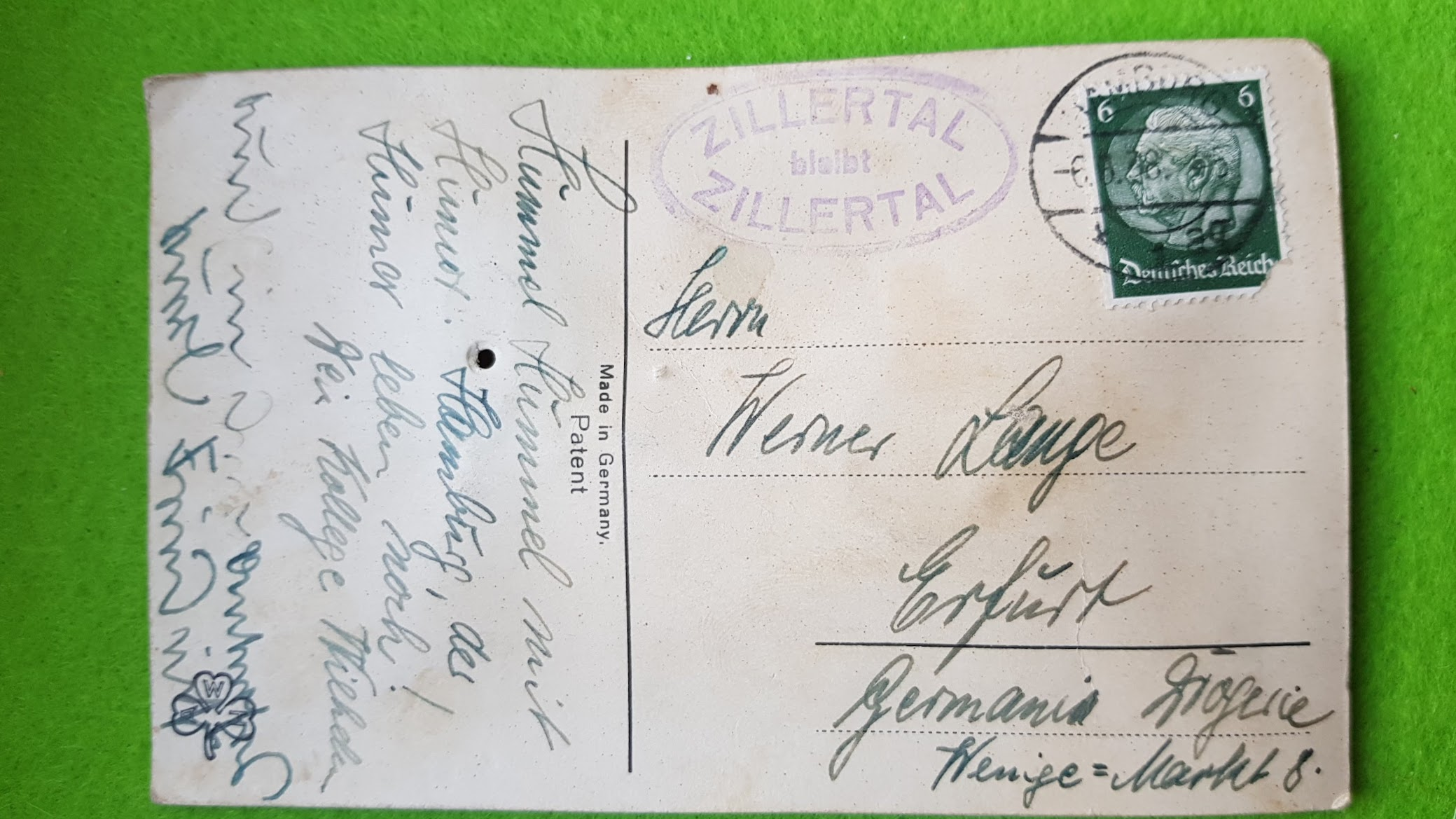 Quietsch-Postkarte von 1928