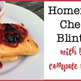 Homemade Cheese Blintzes with Fruit Compote Topping