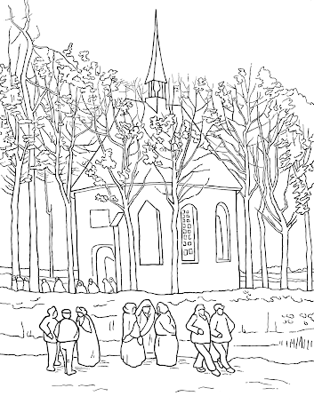 Colouring Page Little Church - Van Gogh Museum
