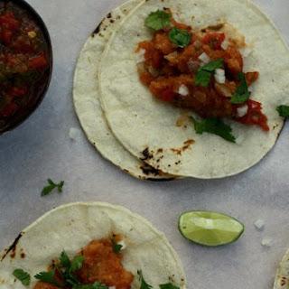 Tacos de Chicharrón (Pork Rind Tacos) & Salsa Casera (House Salsa).