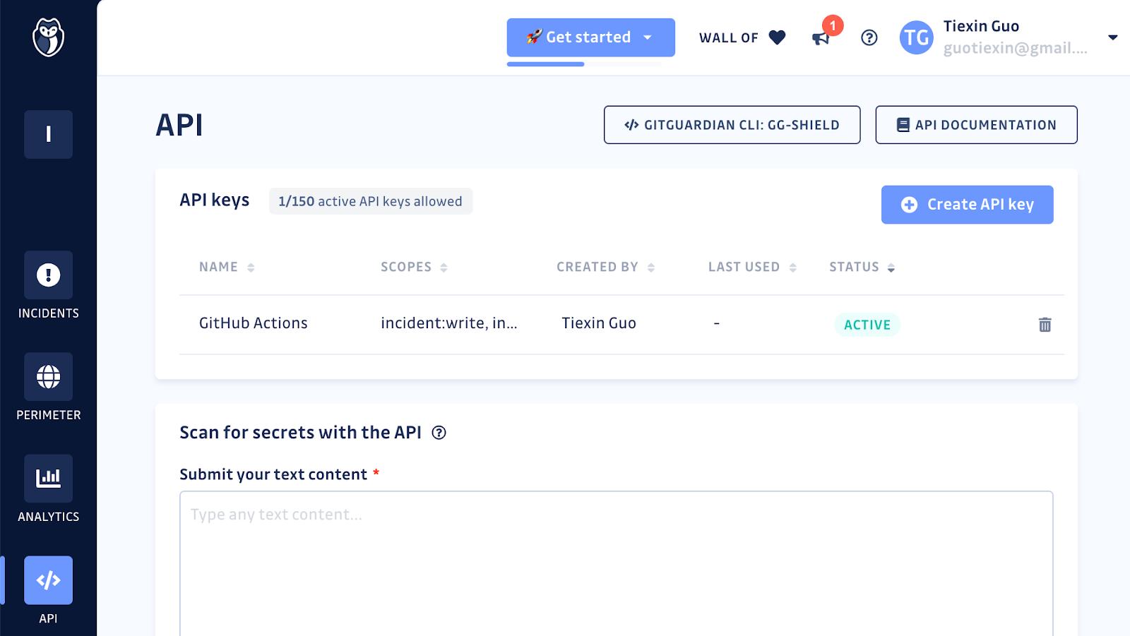 Generating an API key from the GitGuardian dashboard