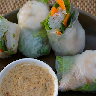 Vietnamese Spring Rolls with Shrimp and Peanut Sauce.