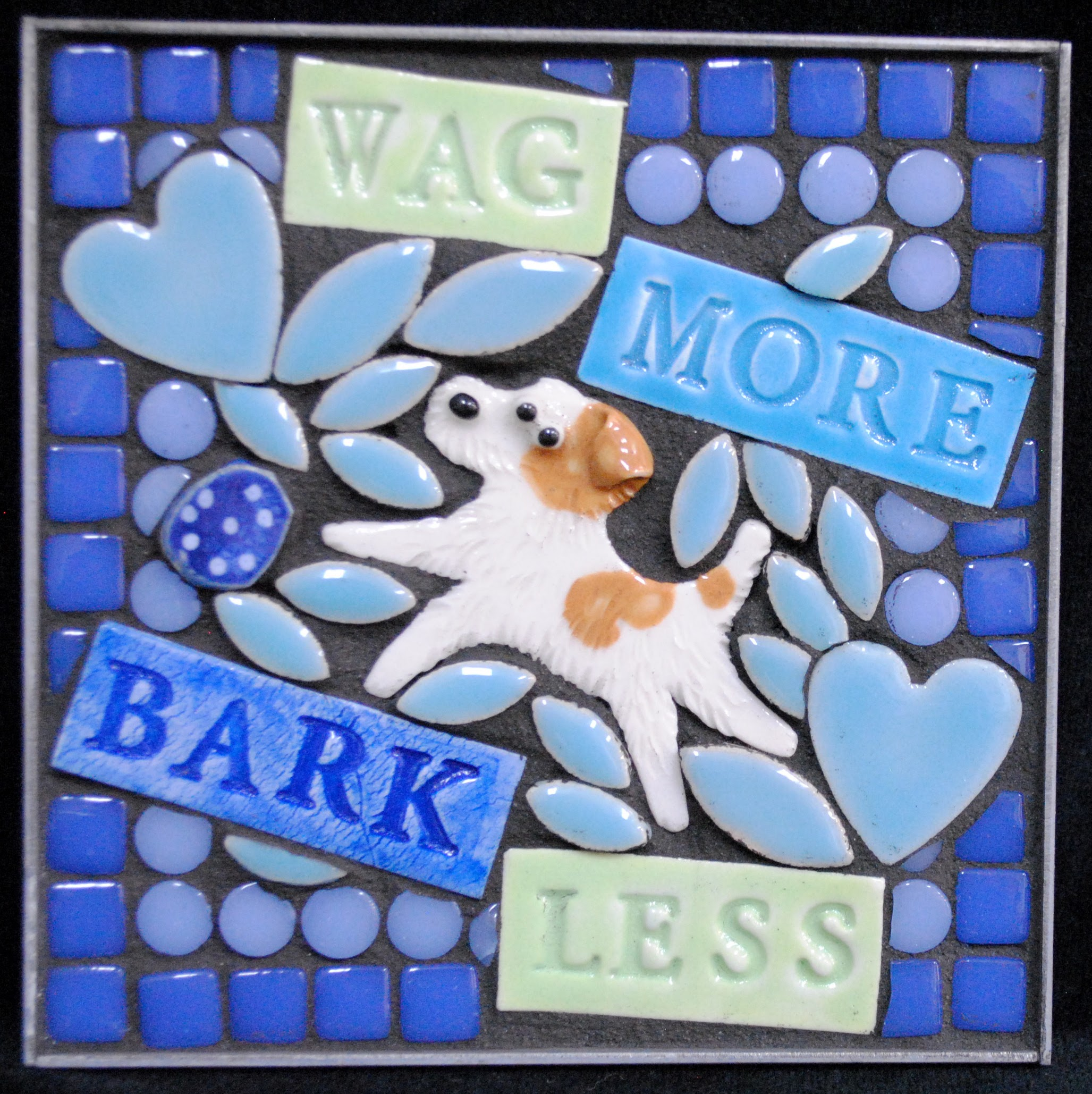 Wag More Bark Less Wire Fox Terrier Mini Mosaic by Brenda Pokorny
