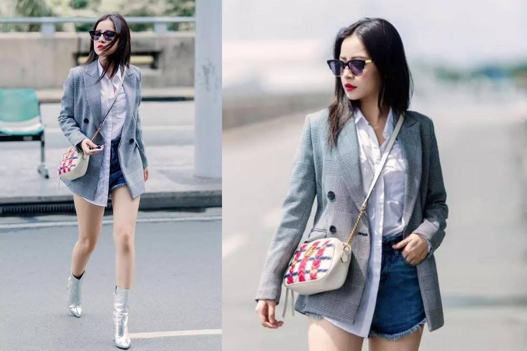 Chi Phu cập nhật xu hướng thời trang áo vest nữ kẻ caro - Thu đông 2017