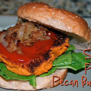 Sweet Potato Pecan Burgers with Caramelized Onions.