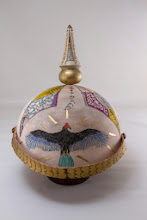 """Photo: Ed Karch & Beth Ireland 10"""" x 8"""" pickelhaube [holly, leather, gold paint, pen and ink]"""