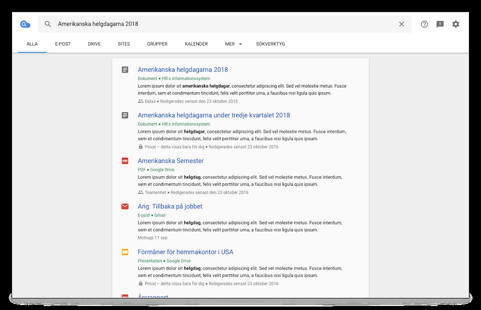 Webbläsarvy för Cloud Search