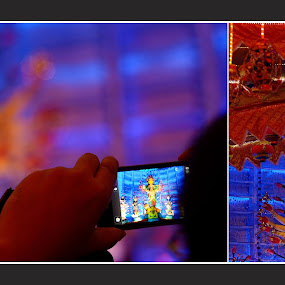 A Festive Dyptic by Anupam Pal - Public Holidays Other ( lights, holiday, dyptic, festival, durga puja )