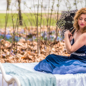 Sitting Pretty by Lynn Kirchhoff - People Portraits of Women ( blue, bed, woman, umbrella, fairy, forest, spring, portrait,  )