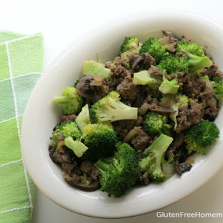Ground Beef and Broccoli with Mushrooms and Ginger.
