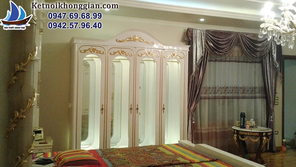 thiết kế nội thất phòng ngủ hiện đại lai cổ điển