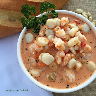 Creamy Tomato Seafood Bisque.