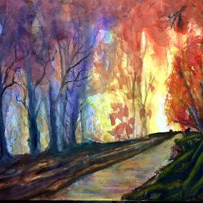 Autumn fire (Final) Glen Sande © 2015 Original Watercolor on Arches 140 lb 12 x 16 with M Graham, Daniel Smith, QoR watercolors by Glen Sande - Painting All Painting