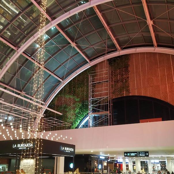 Proceso de construcción del jardín vertical en el centro comercial Diagonal Mar en Barcelona