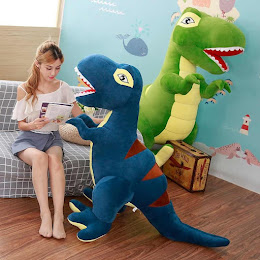 Jucarie din plus pentru copii - Dinozaur verde/albastru 90 cm