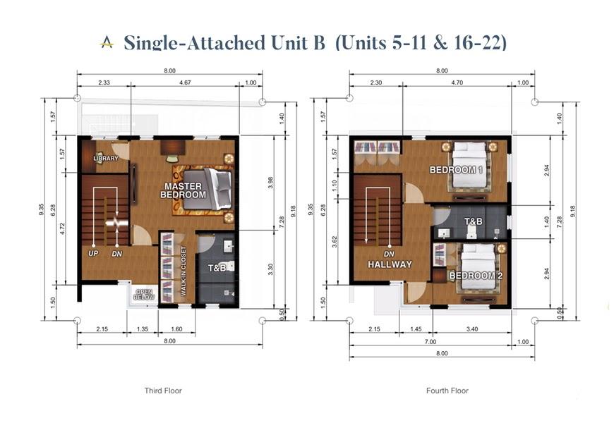 Brizlane Residences Unit B - 3rd and 4th floor plan