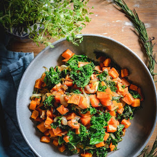 Sweet Potatoes with Kale and Caramelized Onions Recipe
