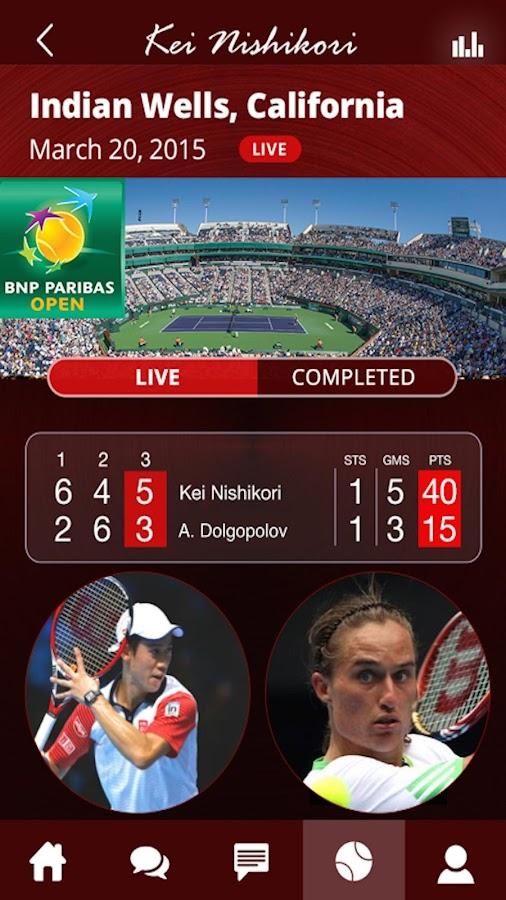 Kei Nishikori Official APP- screenshot