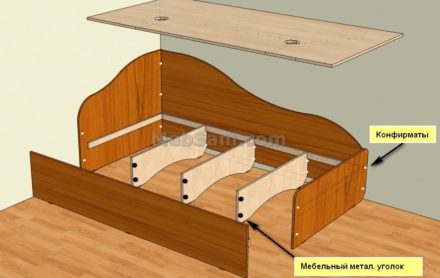 Односпальная кровать из ЛДСП, сборка
