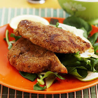 Breaded Pork Chops with Arugula Salad.