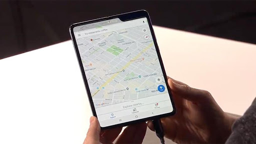 The Samsung Fold opens to reveal a 7.3-inch tablet.