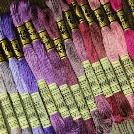 Broderigarn DMC - Lila, lavendel, plommon