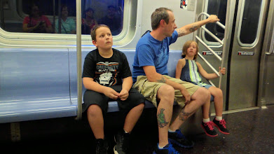 Photo: Ethan, Jim, and Gen - kids' first subway ride