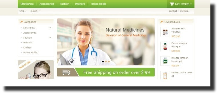 an example of the medical website design