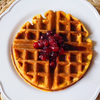Pumpkin Waffles with Maple-Cranberry Butter
