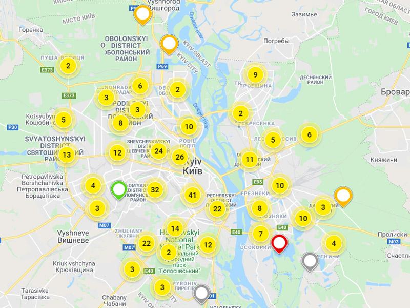 Новостройки Киева на карте