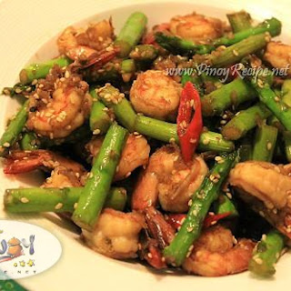 Spicy Shrimp and Asparagus Chinese Stir Fry Recipe