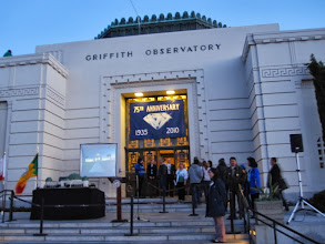 Photo: Griffith Observatory - 75 years! Everything is set for the 8:35 p.m. birthday celebration on the front steps with Dr. Krupp and Councilman Tom LaBonge. This was the last shot before my camera battery died. A couple minutes later I introduced myself to Mr. LaBonge and thanked him for his work in championing Griffith Park. When the ceremony concluded at 8:45, I scampered down East Observatory Trail 0.75 mile to Vermont Canyon Road, then another half mile to Los Feliz Blvd. to catch a Metro 181 at 9:20, the last bus to get me to Sierra Madre Villa in time to catch the last Foothill 187 home. What a fun evening! See my Griffith Observatory hike description: http://www.simpsoncity.com/hiking/griffith/ferndell.html
