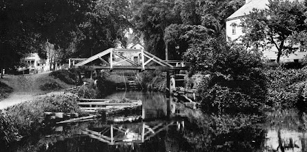 Photo: Baldwin Street Bridge over the Morris Canal at the bottom of Inclined Plane 11 East. Collins House on the left, McNair homestead on the right.
