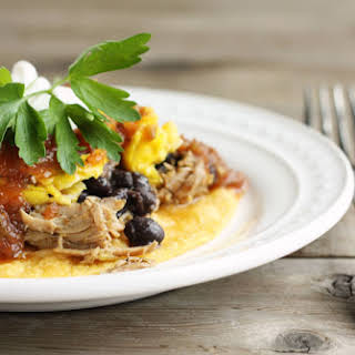 Huevos Rancheros with Sweet Pork & Black Beans.