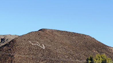 "Photo: ""DV"" formed on a hill behind Death Valley High School, Shoshone, CA."