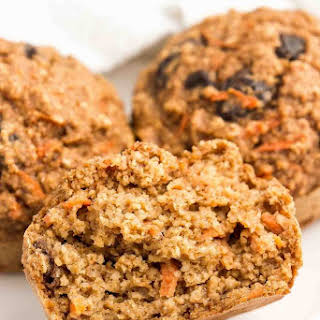 Healthy Carrot Raisin Bran Muffins.