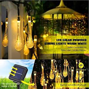 Instalatie solara cu 30 globulete LED Waterdrop, interior-exterior, 5 M, lumina calda
