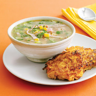 Corn Soup with Sweet Potato Hash Browns