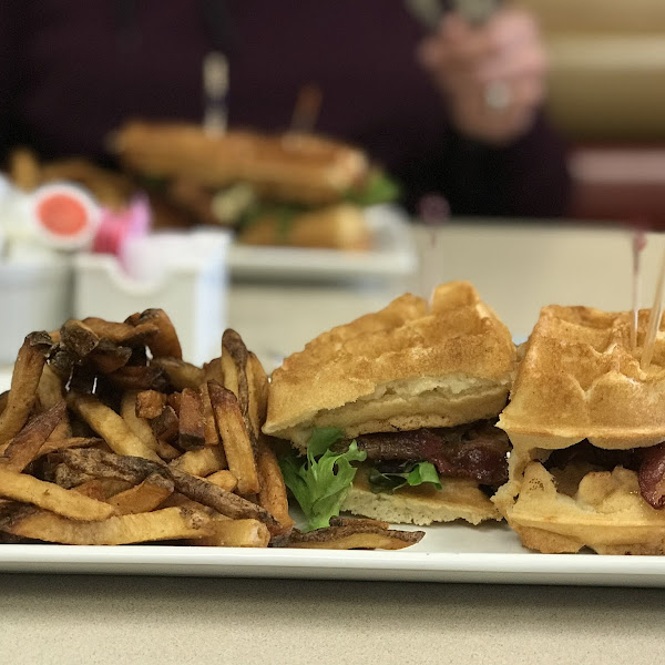 The chicken and waffle sandwich