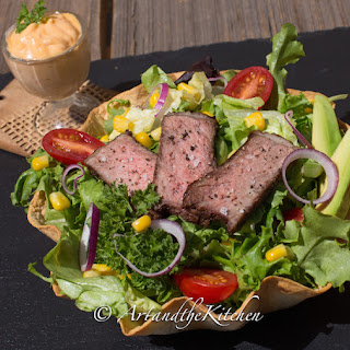 Steak Salad in Baked Tortilla Shell