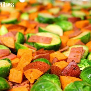 Roasted Brussels Sprouts and Sweet Potatoes with Turkey Bacon