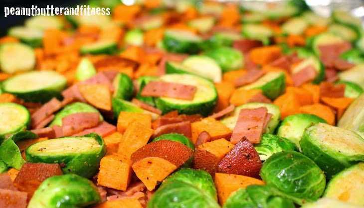 Roasted Brussels Sprouts and Sweet Potatoes with Turkey Bacon Recipe ...