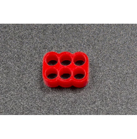 Kabelkam for 6 pins kabel, 2x3 Ø4mm hull, rød