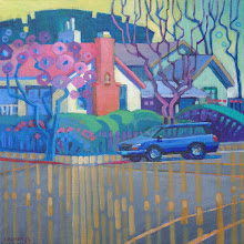 "Photo: ""Third and J, Livermore"", acrylic on canvas 12"" x 12"", © Nancy Roberts. Private collection."